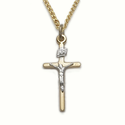 "Sterling Silver 14K Gold Finish Crucifix Necklace in a 2-Tone and Stick Design on 18"" Chain"