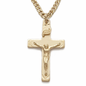 "Sterling Silver 14K Gold Finish Crucifix Necklace in an Engraved Style Design on 20"" Chain"