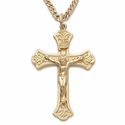 "Sterling Silver 14K Gold Finish Crucifix in a Budded Ends Design on 20"" Chain on"