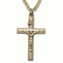 "Sterling Silver 14K Gold Plated Crucifix Necklace in a Bevelled Design on 20"" Chain"