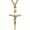 "14K Gold Finish Sterling Silver  Crucifix Necklaces in a Polished Finish on 24"" Chain"