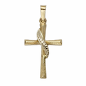 "7/8"" 14K Gold Cross Pendant in a Flared Design with Beaded Sash"