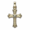 """1"""" 14K Gold Cross Pendant in a Budded Ends Design with Centered Heart"""