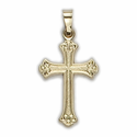 """1"""" 14K Gold  Cross Pendant in a Budded Design with Scroll Ends"""