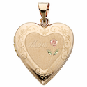 "1"" 14 Karat Gold Locket with Mom Etched in the Heart"