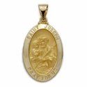 "1"" 14K Gold Oval St. Joseph Medal, Patron of Carpenters (Hollow Medal)"