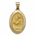 "1"" 14K Gold Oval St. Anthony Medal, Patron of Lost Articles (Hollow Medal)"