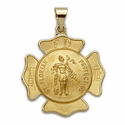 "1"" 14K Gold Large Shield St. Florian Patron of Fire Fighters (Hollow Medal)"