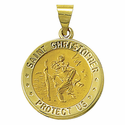 "3/4"" 14K Gold Round St. Christopher Medal, Patron of Travellers (Hollow Medal)"