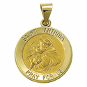 "3/4"" 14K Gold Round St. Anthony Medal, Patron of Lost Articles (Hollow Medal)"
