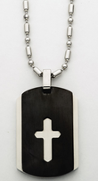 "Stainless Steel 2 Piece Dog Tag With CZ Crystal Cross on 22"" Bead Chain"