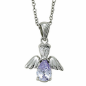 "Sterling Silver June Alexandrite Birthstone Angel Wing Necklace on 18"" Chain"