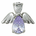 Sterling Silver June Alexandrite Birthstone Angel Wing Pin