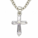 "Sterling Silver June Alexandrite Birthstone Baby Cross Necklace on 13"" Chain"