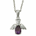 "Sterling Silver February Amethyst Birthstone Angel Wing Necklace on 18"" Chain"