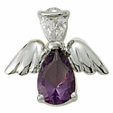 Sterling Silver February Amethyst Birthstone Angel Wing Pin