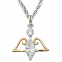 "Sterling Silver CZ Crystal Angel Pendant on 16"" Silver Chain"