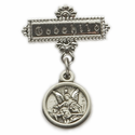 "Sterling Silver Baby Guardian Angel Bar Pin with engraved ""God Child"""