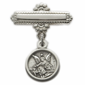 Sterling Silver Baby Guardian  Angel Medal on Sterling Silver  Bar Pin