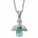 Sterling Silver March Aquamarine Birthstone Angel Wing Necklace