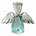 Sterling Silver March Aquamarine Birthstone Angel Wing Pin