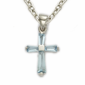 "Sterling Silver March Aquamarine Birthstone Baby Cross Necklace on 13"" Chain"