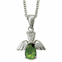 "Sterling Silver August Peridot Birthstone Angel Wing Necklace on 18"" Chain"