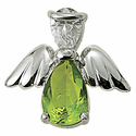 Sterling Silver August Peridot Birthstone Angel Wing Pin