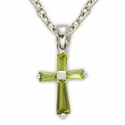 "Sterling Silver August Peridot Birthstone Baby Cross Necklace on 13"" Chain"