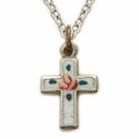"Sterling Silver  Enameled Rose Baby Cross on 13"" Chain"