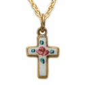 "Sterling Silver 14K Gold Finish Baby Cross w/ Enameled Rose on 13"" Chain"