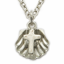 "Sterling Silver Baby Cross Shell on 13"" Chain"