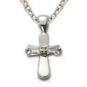 "Sterling Silver Baby CZ Baquette  Stone Baby Cross on 13"" Chain"