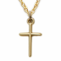 "Sterling Silver 14K Gold Finish Baby Cross Necklace in a Stick Design on 13"" Chain"