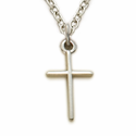 "Sterling Silver Stick Baby Cross on 13"" Chain"