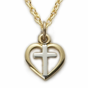 "Sterling Silver 14K Gold Finish Cross in a 2-Tone Baby Heart Design on 13"" Chain"