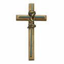 "8"" Oak\Brass Blue Screened Cross with Antique Gold Praying Boy"