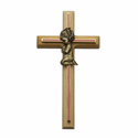 "8"" Oak\Brass Pink Screened Cross with Antique Gold Praying Girl"