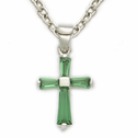 "Sterling Silver May Emerald Birthstone Baby Cross Necklace on 13"" Chain"