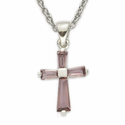 "Sterling Silver Birthstone February Amethyst Baguette Cross Necklace on 16"" Chain"
