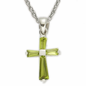 "Sterling Silver Birthstone August Peridot Baguette Cross Necklace on 16"" Chain"