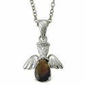 "Sterling Silver January Garnet Birthstone Angel Wing Necklace on 18"" Chain"