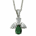 "Sterling Silver May Emerald Birthstone Angel Wing Necklace on 18"" Chain"