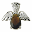 Sterling Silver January Garnet Birthstone Angel Wing Pin