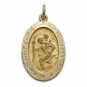 "3/4"" 14K Gold Large  Oval St. Christopher Medal With Polished Border"