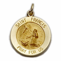 "5/8"" Diameter 14K Gold  Round St. Francis Medal, Patron of Animals, Birds"