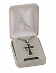 "Stainless Steel 2 Piece Cross with Black Border on 22"" Stainless Bead Chain"