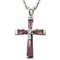 "Sterling Silver February Birthstone Crucifix on 18"" chain"