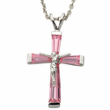 "Sterling Silver October Birthstone  Crucifix on 18"" chain"