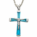 "Sterling Silver December Crucifix on 18"" chain"